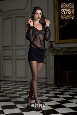Sexy Chiffon Microfiber Sheer Black Hooded Mini Dress Music Hall Maison Close