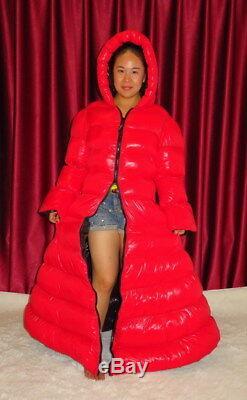 Shiny Glossy Nylon Wetlook Down Coat Winter Dress glanznylon