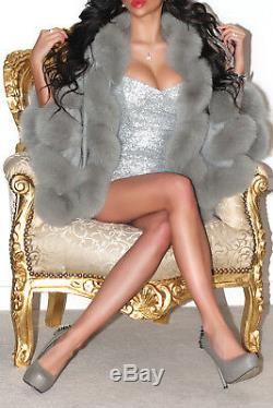 Silver Grey Hooded Pure Cashmere Real Twisted Fox Fur Trim Cape Wrap With Hood