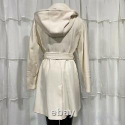 Size 12 MICHAEL KORS MK Classic Ivory 3-Button Hooded Wool Dress Jacket Coat