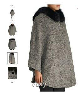 Sofia Cashmere Fox Fur-Trim Boucle Hooded Capelet S/M