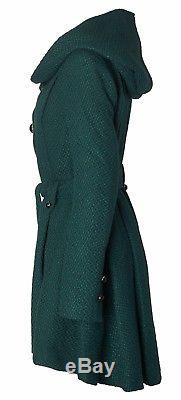 Sportoli Stylish Womens Wool Blend Belted Winter Dress Drama Coat with Hood