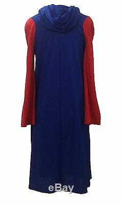 Stephen Burrows VTG 60s Red and Blue Colorblock Hooded Jersey Knit Dress XS/S