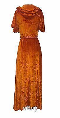 Stephen Burrows VTG 70s NWT Orange Velvet Hooded Robe Loungewear S/M