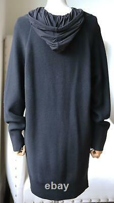 T By Alexander Wang Hooded Layered Wool And Cotton Blend Jersey Mini Dress Small
