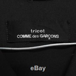 TRICOT COMME DES GARCONS 1992 black wool gabardine square hood maxi dress M S