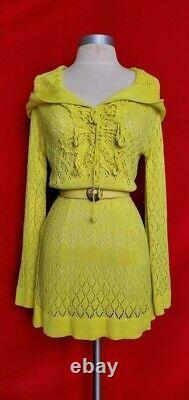 Talita Lime Green Cotton Hoodie Sweater Dress Tunic Size S/M
