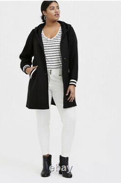 Torrid Woolen Varsity Hooded Longline Coat Black White Striped Womens Plus 3X