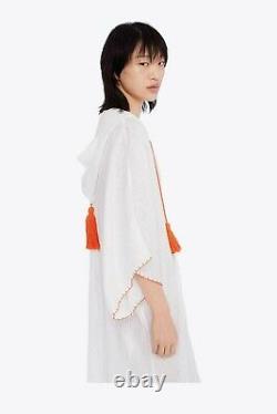 Tory Burch Hooded Beach Caftan L Cover Up Linen Dress 10 Runway'19
