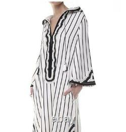 Tory Burch Savonna Black/White striped embroidered Hooded kaftan XS NWT $558