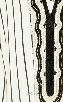 Tory Burch Savonna Caftan Dress M 6 8 Stripes Runway Hooded