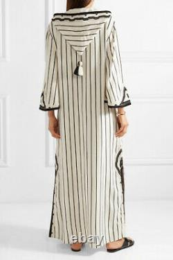 Tory Burch Savonna Dress S 6 Women's Casual Striped Embroidered Maxi NEW 18521