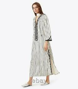 Tory Burch Savonna Dress XL 10 Women's Casual Striped Embroidered Maxi NEW 18487
