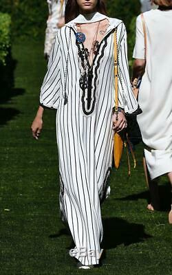 Tory Burch Savonna Striped Embroidered Canvas Kaftan Dress L Hooded New 12692