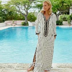 Tory Burch Savonna Women's Dress Medium Striped Embroidered Hooded Maxi $548