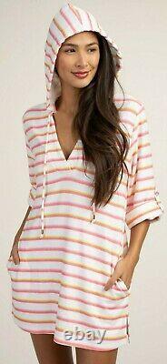 Trina Turk Costa De Prata Stripe Hooded Swimsuit Cover Up Tunic Dress