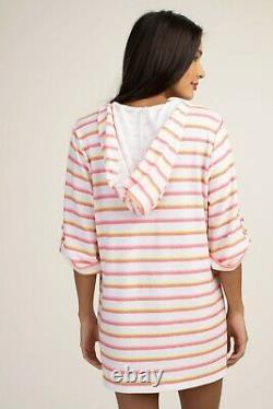 Trina Turk Costa De Prata Stripe Hooded Swimsuit Cover Up Tunic Dress XL
