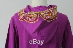 True Vintage 1960s 70's NWT NOS India Embroidered Hooded Maxi Caftan Dress