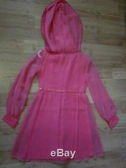 True Vintage 60's GO GO TWIGGY Pink VTG SIXTIES chiffon Hoodie Mini Dress XS/S