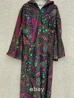 VINTAGE 60s 70s PSYCHEDELIC DRESS HOODED HIPPY KAFTAN M 12 10 JEAN ALLEN