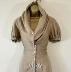 VIVIENNE WESTWOOD 38 Camel Large Collar Hooded Cotton Party Pencil Shirt Dress