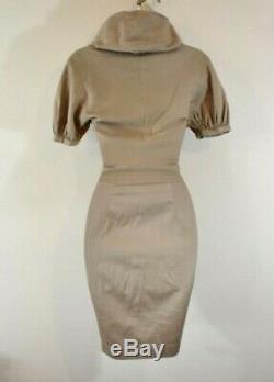 VIVIENNE WESTWOOD 40 Camel Large Collar Hooded Cotton Shirt Wiggle Dress