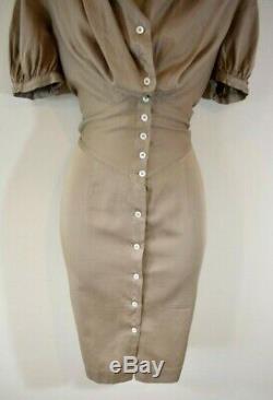 VIVIENNE WESTWOOD 40 Camel Large Collar Hooded Shirt Dress