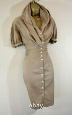VIVIENNE WESTWOOD 42 Camel Large Collar Hooded Cotton Shirt Wiggle Dress