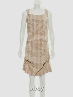 VIVIENNE WESTWOOD Jacquard Hooded Sleeveless Dress Size 8 M Beige/Pink
