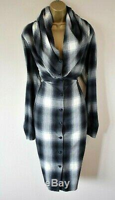 VIVIENNE WESTWOOD Tartan Check Italian Wool Hooded Collar Shirt Party Dress 46