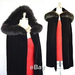 VTG 1950s Cape Opera Cloak Black Velvet dress Coat fox fur trim hood