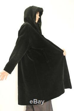 VTG VELVET Draped HUGE HOOD Swing MASSIVE SWEEP Hippy MOD Dress Jacket Coat s/m