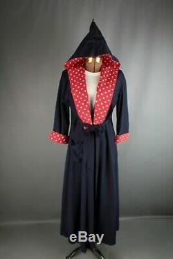 VTG Women's 1940s / 1950s Blue & Red Hooded House Dress / Robe #2555 50s 40s