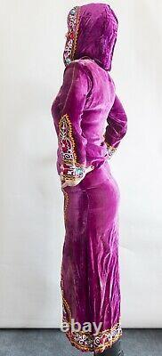 Velvet Kaftan hooded dress VTG Embroidered peacock INDIAN Hippy MAXI Purple SILK