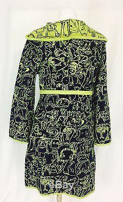 Victor & Rolf Made In Italy Designer Coat Dress With Hood Women's Medium Green
