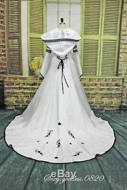 Victorian Medieval Wedding Dresses Gothic Black Embroidery Hooded Bridal Gowns