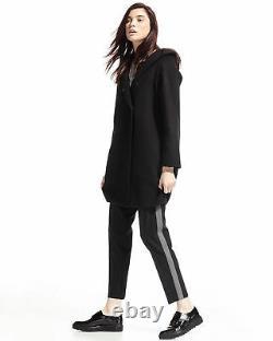 Vince Hooded Coastal Wool Classic Coat Jacket Asymme Black XS $695