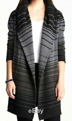 Vince Sophie Hooded Variegated Striped Dress jacket Top Sweater Coat 10 12 Large