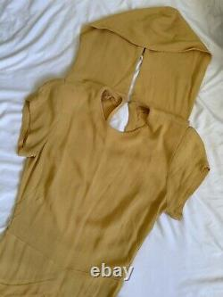 Vintage 1940s mustard yellow rayon crepe hooded dress