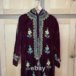 Vintage 1960s 60s Embroidered Velvet Caftan Dress with Hood Boho Clothing XS
