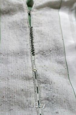 Vintage 1960s 70's Moroccan Embroidered Hooded White Green Maxi Caftan Dress