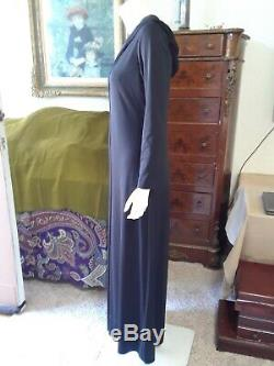 Vintage 1970's LILLIE RUBIN Black Jampsuit With A Hood / Long Sleeves, Size M