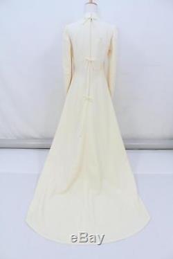 Vintage 60s Cream Long Sleeve OSTRICH FEATHER HOOD WEDDING Dress AUS 10 12 S M