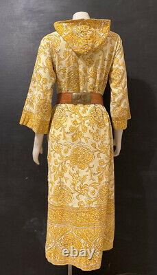 Vintage 60s Hand Blocked Kaftan Yellow Hand Sewn Caftan With Hood Paisley Print
