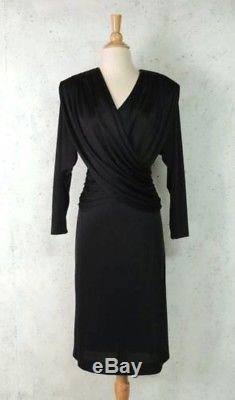 Vintage 70s 80s Pierre Cardin Black Slinky Goth Hooded Draped Disco Dress