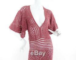 Vintage 70s Crochet Knit Maxi Dress Flutter Sleeve Deco Boho Size M