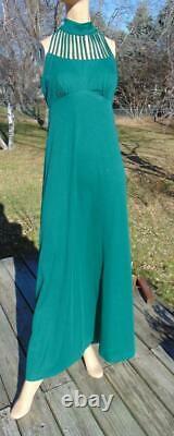 Vintage 70s Green Maxi Dress & Matching Hooded Long Coat Sm