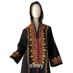 Vintage 70s India Gauze Embroidered Boho Hippie Hooded Caftan Dress Maxi Large
