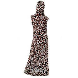 Vintage 70s Jantzen Psychedelic Mod Geometric Hooded Caftan Dress Maxi Small
