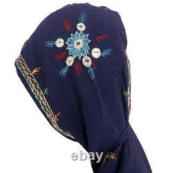 Vintage 70s Kaftan Pakistan Cotton Blue Hooded Hand Embroidered Tunic dress M